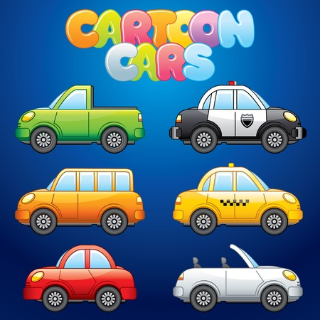 mini bus: Cartoon Automobiles. Vector Set for your Design Illustration