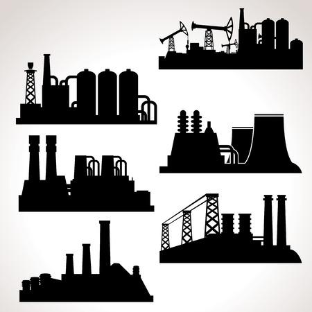 yacimiento petrolero: Edificios Industriales. Vector Set para su diseño Vectores