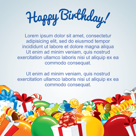 1st birthday: Colorful Birthday Card Template. Vector Illustration for Your Text Illustration