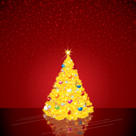 bright christmas tree: Christmas Background with Bright Tree. Vector Picture