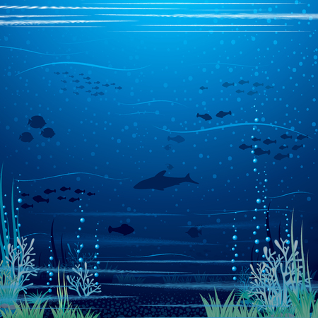 deep ocean: Beautiful Underwater Landscape. Vector Art Ready for Your Text and Design.