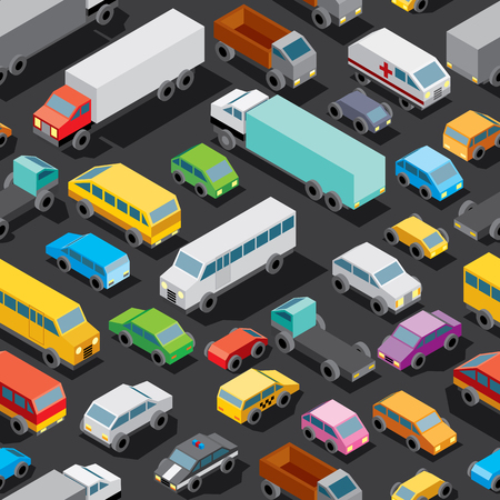 Seamless Car Parking with Various Isometric Automobiles, Trucks, Buses. Vector Pattern Illustration