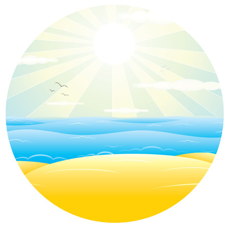 Sunny Sand Beach. Vector Illustration for Design