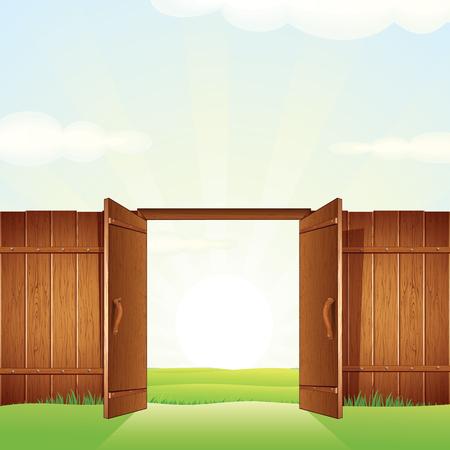 puertas de madera: Puerta abierta de la madera. Imagen vectorial para su diseño. Vectores
