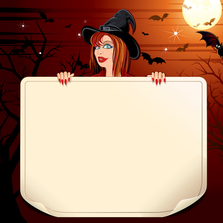 blank space: Happy Halloween Poster with Illustration of Pretty Witch on the Moony Background. Vecto Ready for Your Text and Design.