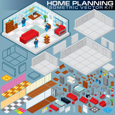 construction plans: Isometric Home Plan. 3D Vector Creation Kit. Various Objects and Elements for Your Print Design, Game Apps or Business Presentation