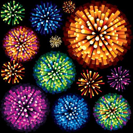 Feux d'artifice colorés et des explosions. 3D Isolated Élément graphique.
