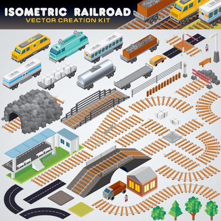 Train ferroviaire isométrique. Illustration vectorielle détaillée 3D - Locomotive rétro, réservoir d'huile, fourgon réfrigéré, wagon plat de fret, wagon couvert.