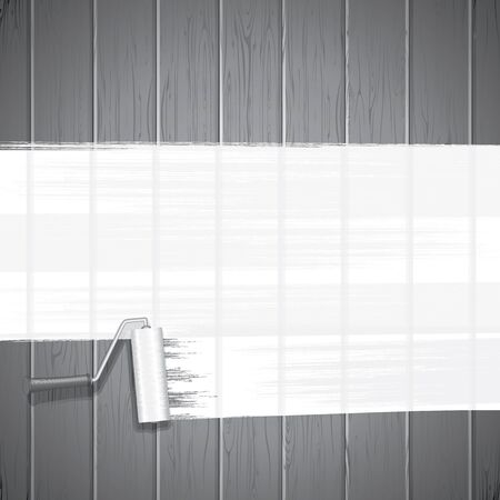 renovating: White Paint Roller on Planks Background. Vector Image