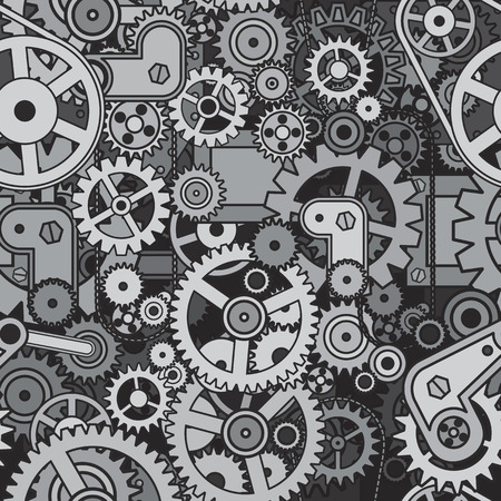 robotic transmission: Gears and Cogwheels Background. Vector Seamless Pattern