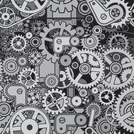 clockwork: Abstract Crazy Mechanism. Seamless Pattern. Vector Design Illustration