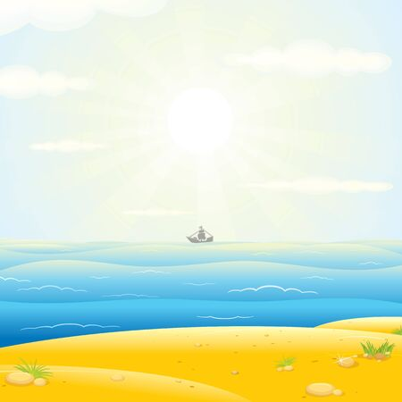 sunup: Sailboats Silhouette with Sunny Sea Background. Vector Image