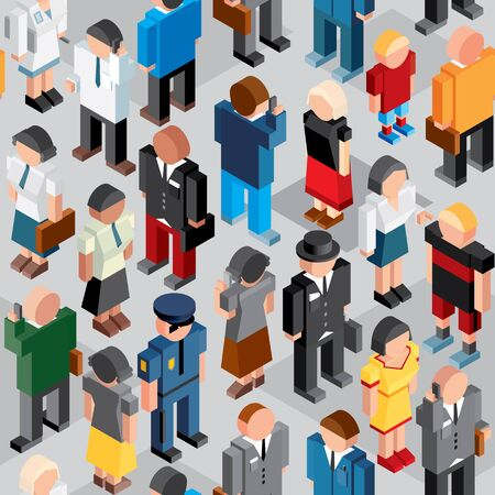 People Crowd. Seamless Patten. Vector Icon Background