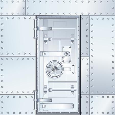 閉鎖銀行の金庫室の扉。ベクトル設計図