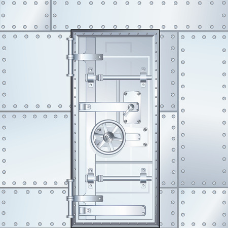 Closed Bank Vault Door. Vector Design Illustration