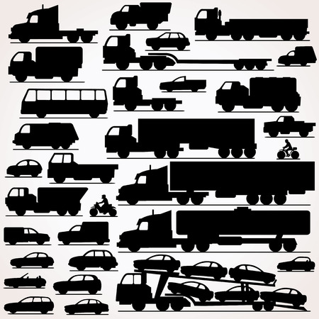 pick up: Car Icon Set. Side View Vector Silhouettes Illustration