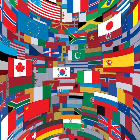 banderas del mundo: Banderas del mundo de fondo. Listo para el texto y el diseño. Vectores