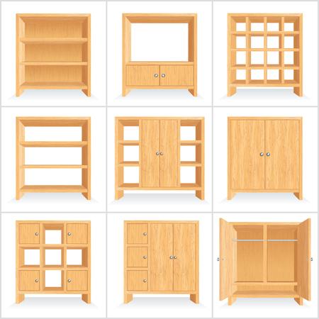 Classic Wooden Wardrobe Cabinet Bookshelf. Vector Set Stock Illustratie