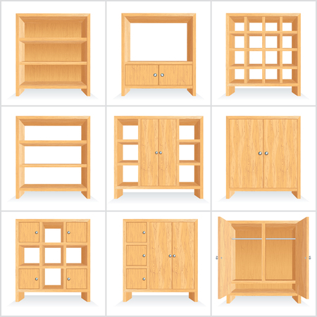 Classic Wooden Wardrobe Cabinet Bookshelf Vector Set Illustration