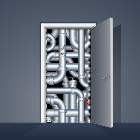 boiler room: Open Door to Boiler Room. Ready for Your Text and Design. Illustration