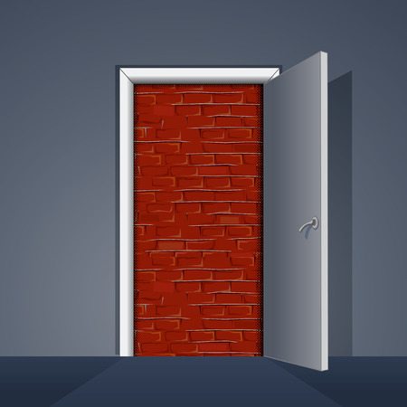 nowhere: Door to Brick Wall. Ready for Your Text and Design.