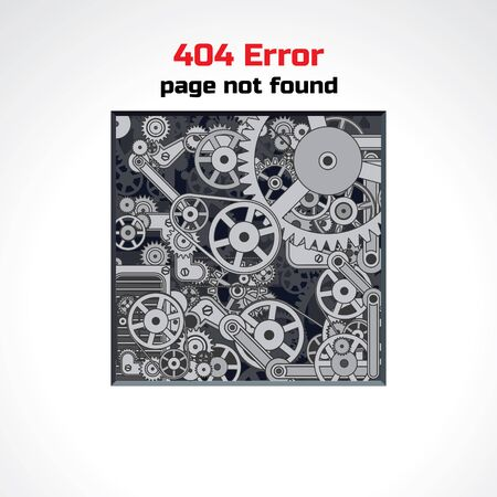 servers: Error Page Vector Design. Abstract Background with Crazy Mechanic Machine. Sorry, Page not Found. Illustration