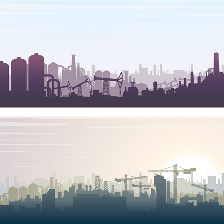 housing problems: Industrial and Construction Cityscape. Banner or Poster Backgrounds. Vector Illustration