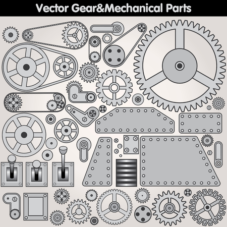 Retro Mechanical Parts - Various Gears, Levers, Arms. Vector Design Elements