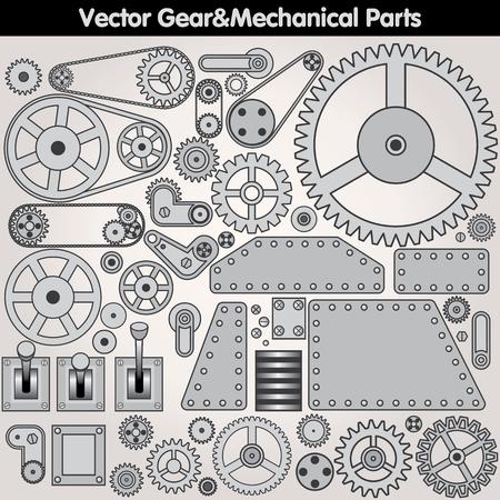 Retro parti meccaniche - vari ingranaggi, leve, Braccia. Elementi di disegno vettoriale