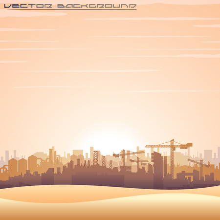 Illustration of Mideast Urban Cityscape. Modern Buildings Construct. Vector Background for Your Text and Design.