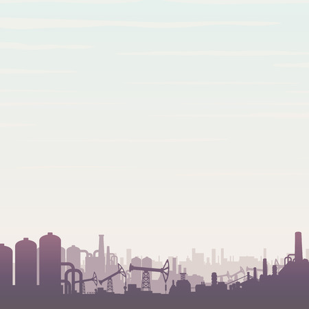 gas refinery: Oil and Gas Refinery. Panoramic Industrial Landscape with Pump Jack and Abstract Factory.
