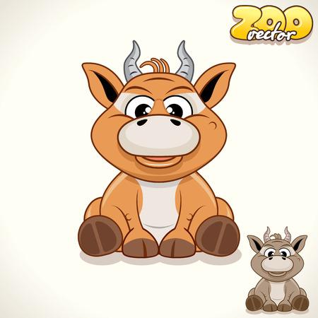 tiny: Cute Cartoon Tiny Antelope. Vector Illustration Zoo Illustration