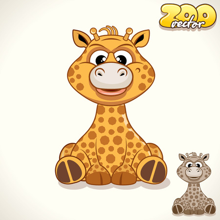 camelopard: Cute Cartoon African Giraffe. Vector Illustration Zoo