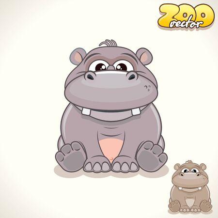 pigmy: Cute Cartoon Cheerful Hippo. Vector Illustration Zoo
