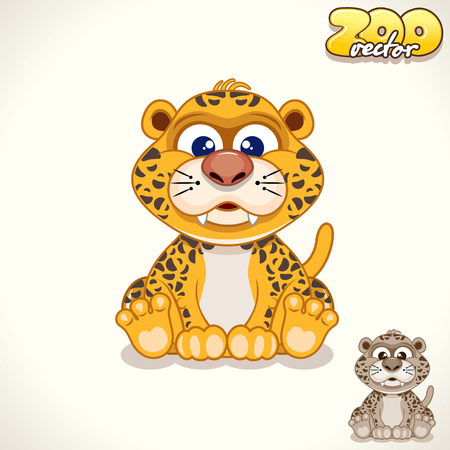 Cute Cartoon Spotted Leopard Cub. Vector Illustration Pet Reklamní fotografie - 54191233