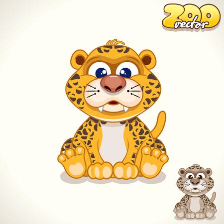 Leuke Cartoon Bevlekte Leopard Cub. Vector Illustration Pet