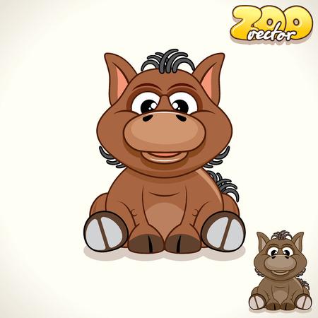 nag: Cute Cartoon Little Pony. Vector Illustration Zoo Illustration