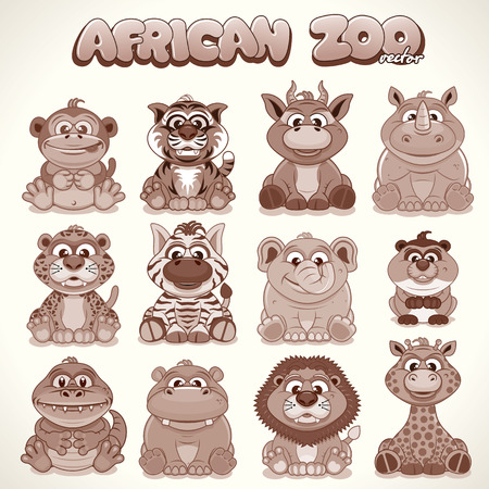 squirrel monkey: Cute Cartoon African Animals. Set of Characters. Retro Colored Vector Illustration Illustration