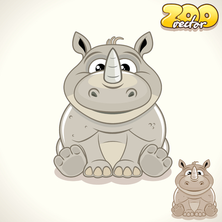 rhino vector: Cute Cartoon Thick Skinned Rhino. Vector Illustration Zoo
