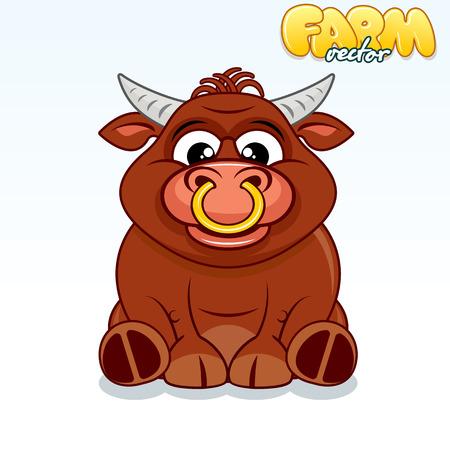 Cute Cartoon Brown Buffalo.