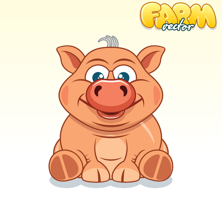 pinky: Cute Cartoon Pinky Pig. Illustration