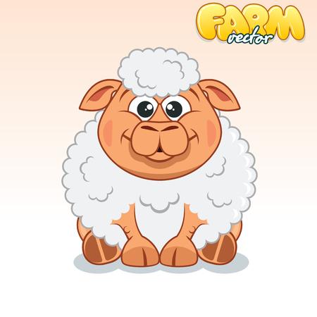 baby lamb: Cute Cartoon Happy Sheep.