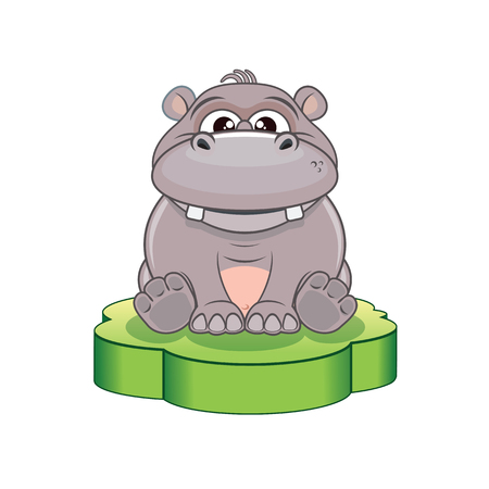 behemoth: Funny Cartoon Hippo. Illustration for Your Design
