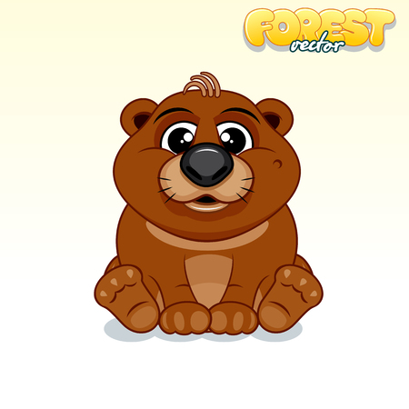 baby illustration: Cute Cartoon Brown Bear