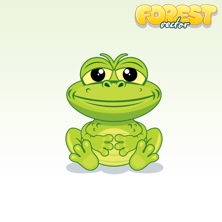 green cute: Cute Cartoon Green Frog