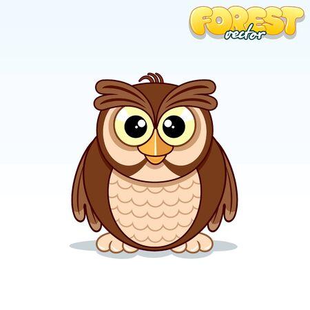 horned: Cute Cartoon Horned Owl Illustration