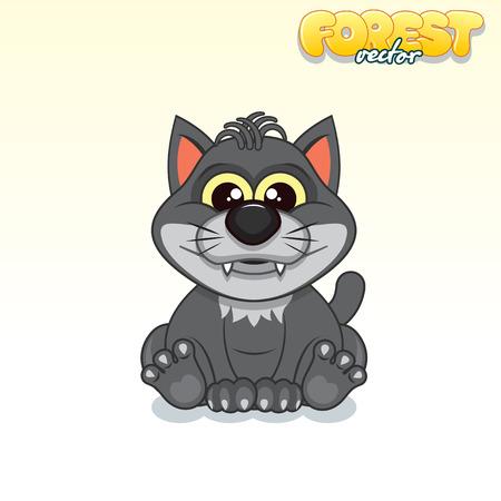 black wolf: Cute Cartoon Black Wolf Illustration