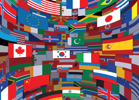 various: World Flags Backdrop. Background Ready for Your Text and Design.
