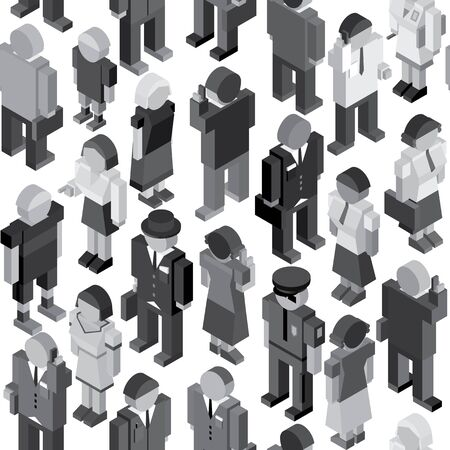 rout: Monochrome Seamless Pattern with Crowd of Random People Illustration