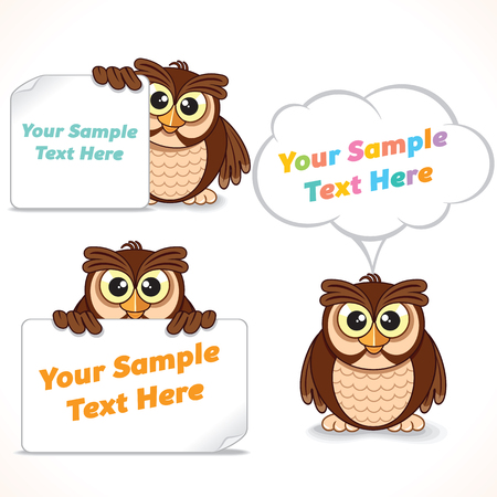 blank banner: Funny Cartoon Character Owl Showing Blank Banner and Sign. Advertising Image Ready for Your Text and Design. Illustration